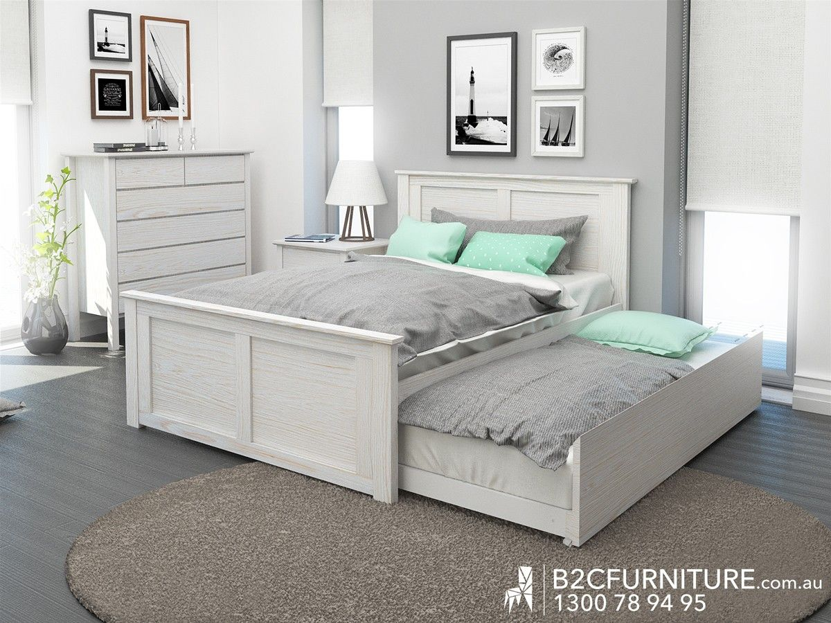 Rustic Whitewash Double Trundle Bed Modern Design Bedroom