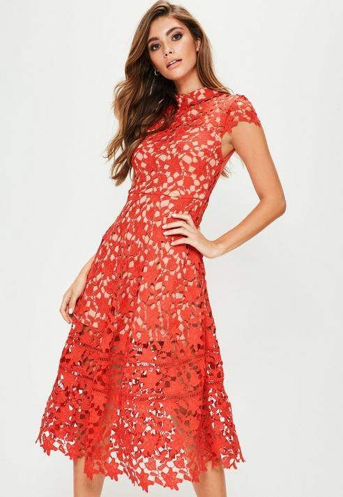 e82960f7193a Missguided Red Short Sleeve Lace Midi Skater Dress