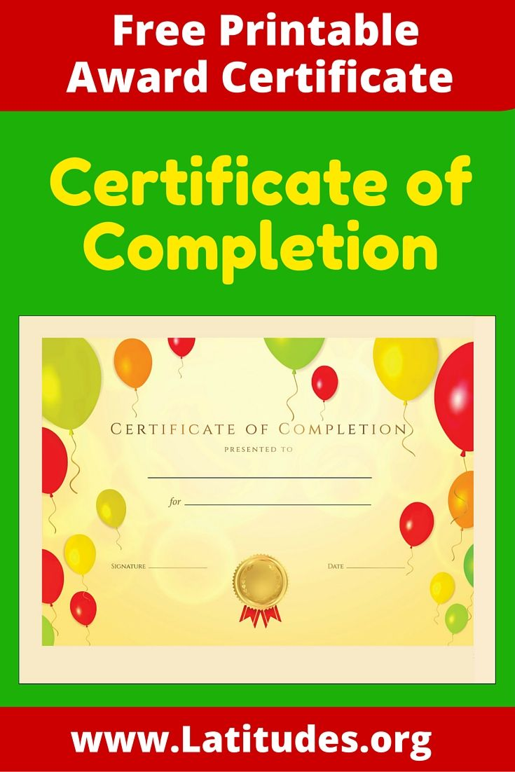 Free Certificate Of Completion Award  Certificate Child And Parents