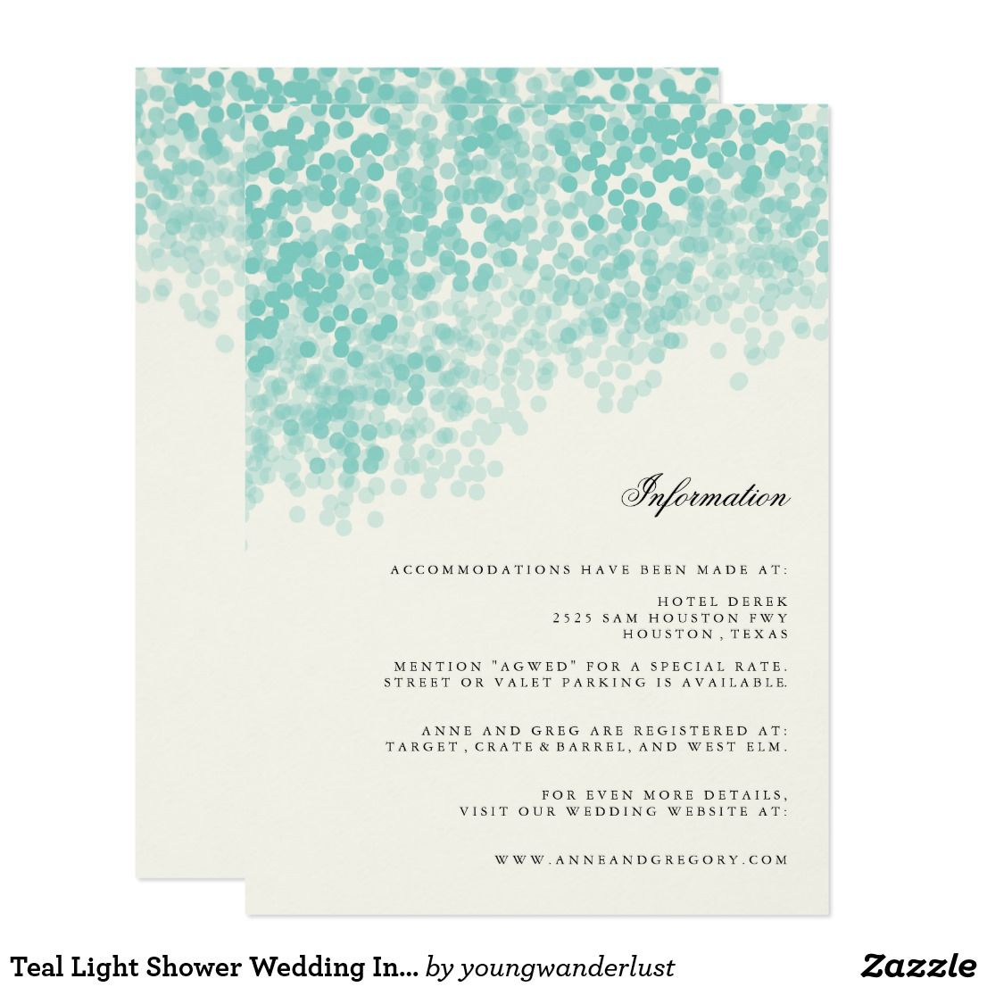 Beach wedding in texas  Teal Light Shower Wedding Information Insert Card  Wedding suite