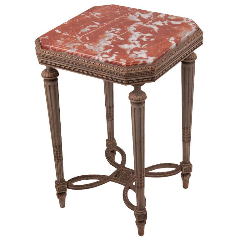 marble top bedroom furniture%0A Early century side table in French Neoclassical style with delicate   detailed carvings  fluted legs  decorative leg support and Languedoc marble  top