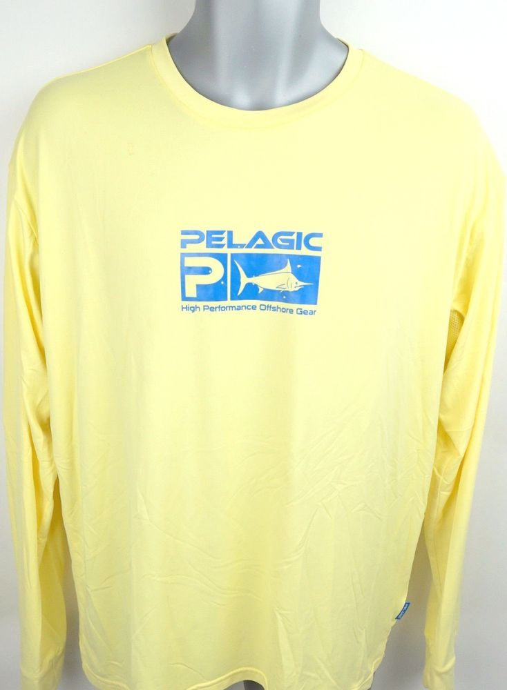 828dbf78 PELAGIC Men's Shirt Size L AquaTek Sun Shirt UVA UVB Long Sleeve Yellow # PELAGIC #TShirt