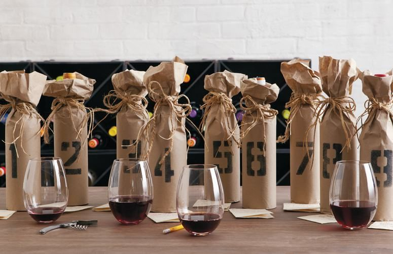 Mystery Wine Party Guests Bring Bottles One Wrapped Up So You
