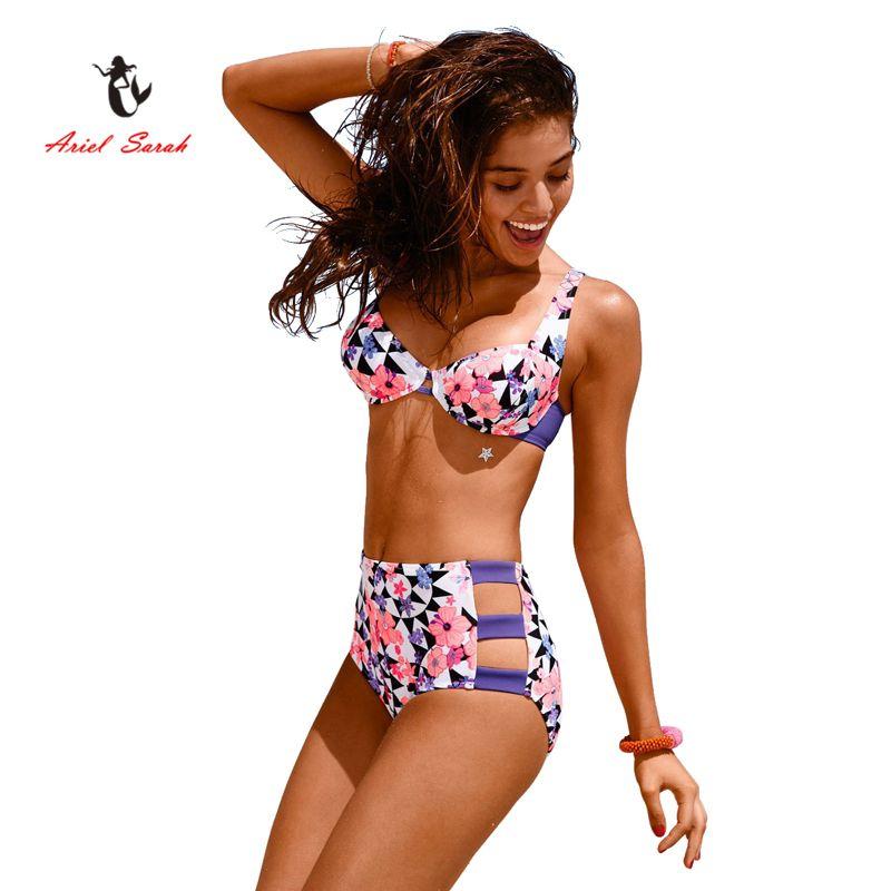 477a2738c8e7c Ariel Sarah Brand 2017 Hot High Waist Bikini Sexy Swimwear Women Flora  Print Bikini Set Bathing Suit Push Up Swimsuit