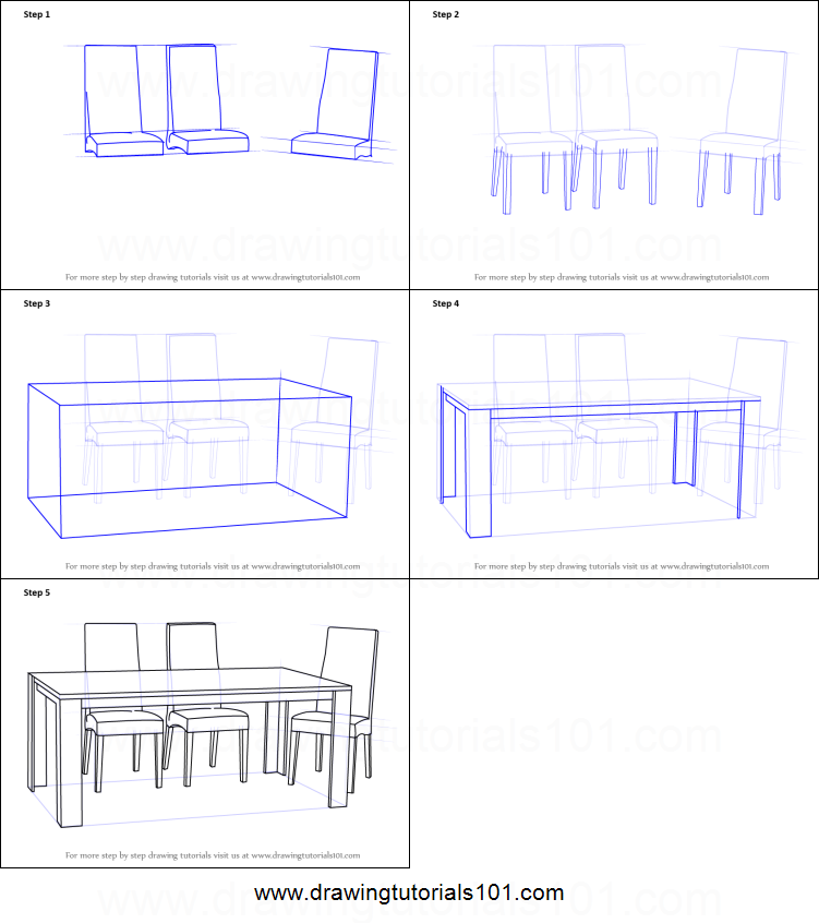 How To Draw Dining Table With Chairs Printable Step By Step Drawing Sheet Drawingtutorials101 Drawing Furniture Interior Design Drawings Dining Table Chairs
