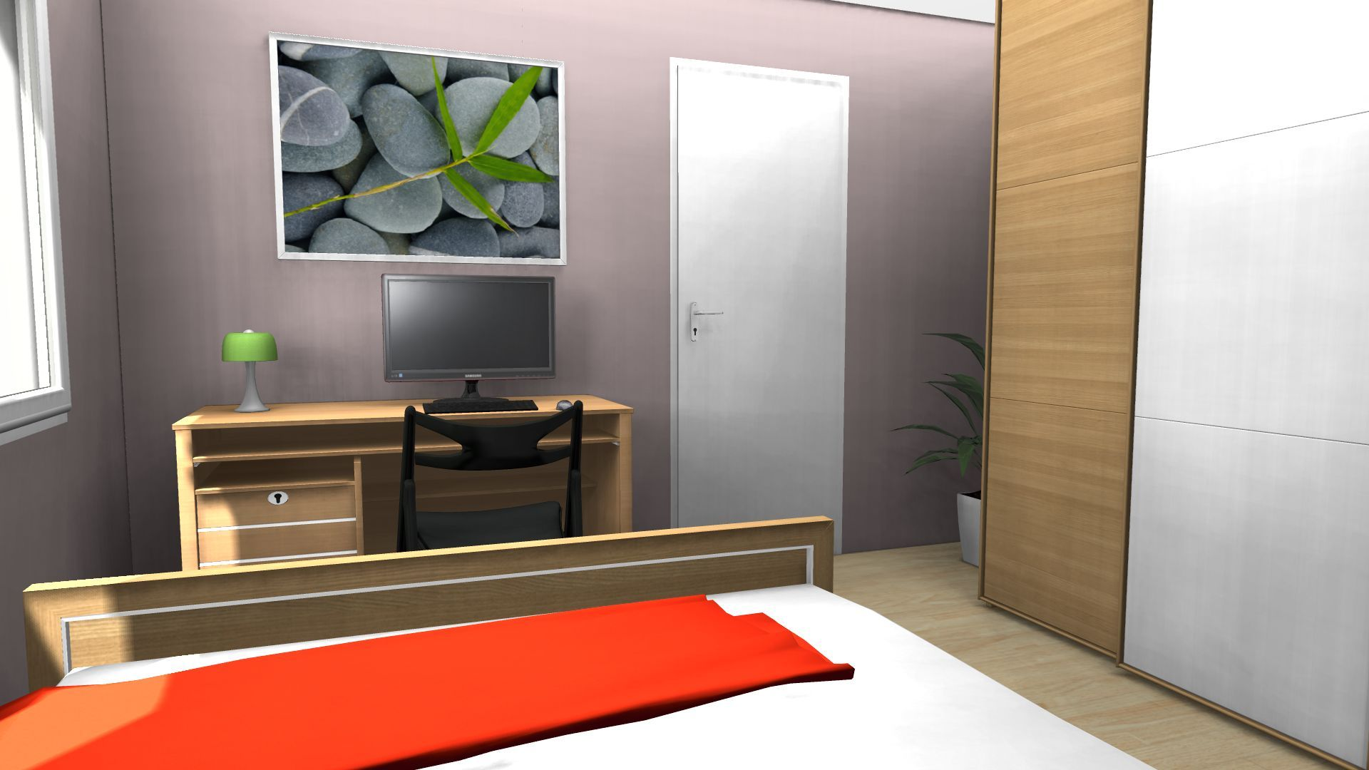 Bedroom rendering with free home design software interior for Home design rendering software
