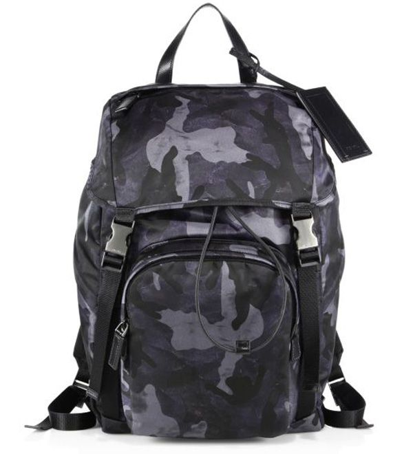 Prada Technical Fabric & Leather Trimmed Backpack Blue $235.00 ...