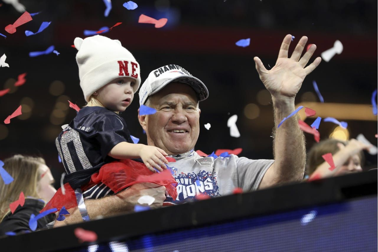 New England Patriots Head Coach Bill Belichick Is Seen With His Granddaughter After Defeating The Los Angeles Rams Dur New England Patriots Patriots Super Bowl