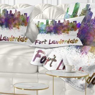 Designart 'Fort Lauderdale Skyline' Cityscape Throw Pillow (Rectangle - 12 in. x 20 in. - Medium), Purple, DESIGN ART(Polyester, Graphic Print)
