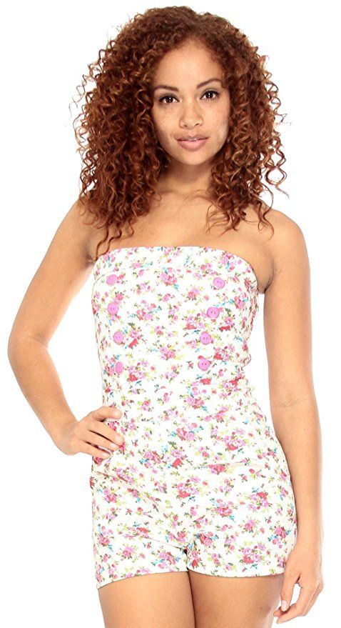 dab61cca46d2 Simplicity Denim Romper in Floral Print W  Pockets and Smocked Waist ...