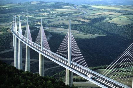 Structure in the south of France soars over the valley of the River Tarn near Millau