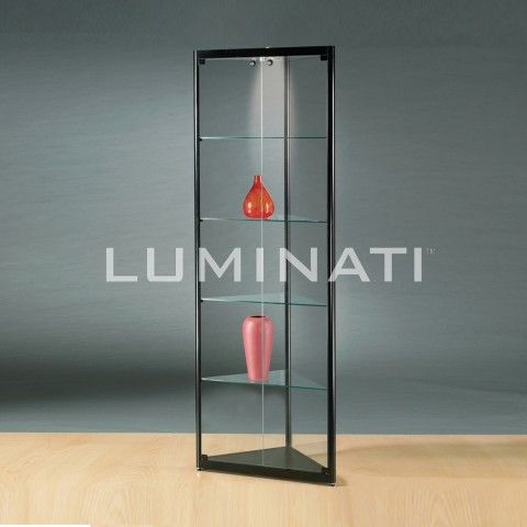 Glass display cabinet, triangular shape to fit into a corner of a ...