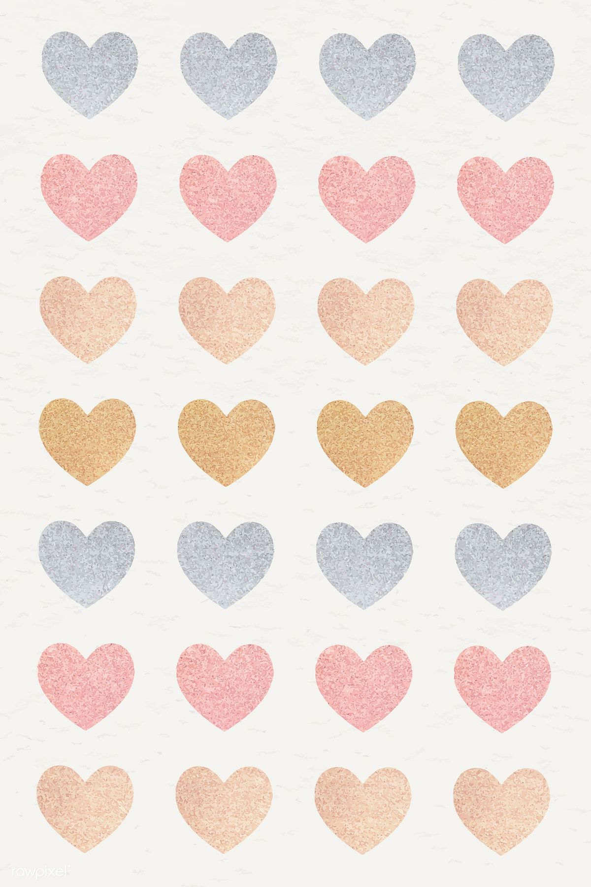 Glitter heart sticker set vector free image by rawpixel