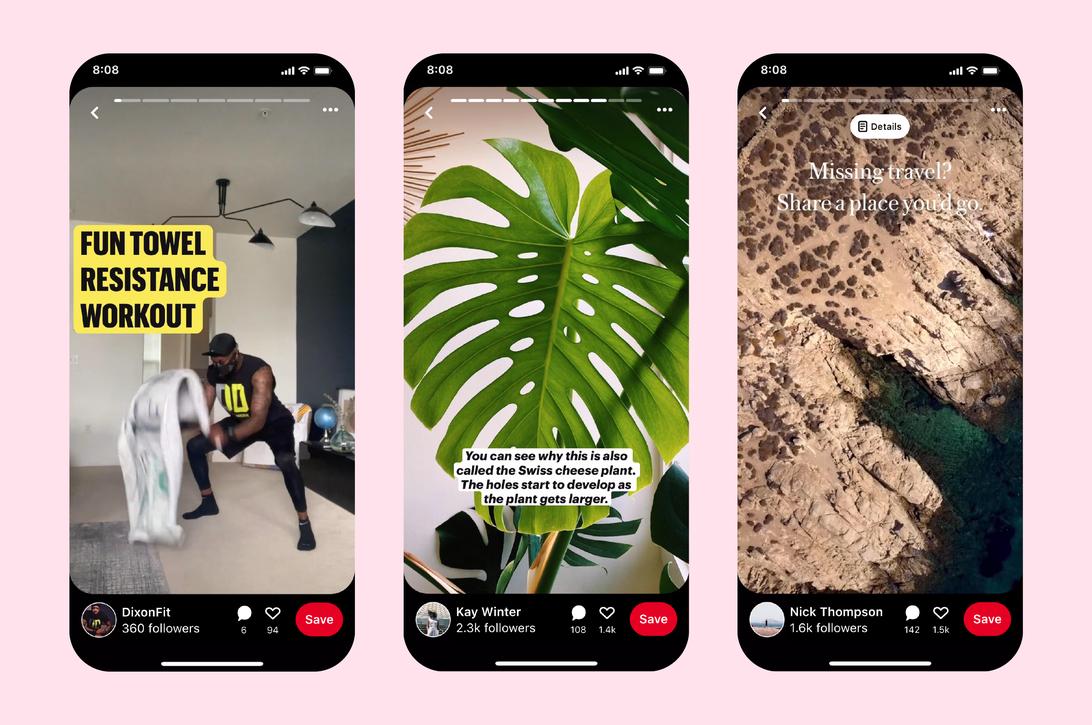 Blog Pinterest Mimics Instagram Tiktok And Snapchat With Story Pins Cnet Pinterest Story Fun Towels Pinterest Design