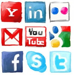 Social Media Icons in Watercolor. Twitter. Facebook. Skype. Google. Gmail. YouTube. Flickr. LinkedIn. Yahoo. Luv this!