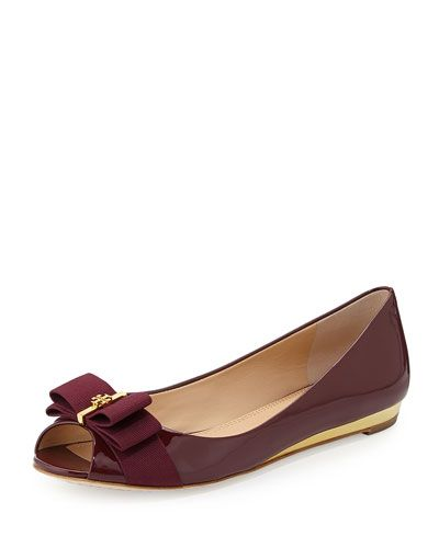 65df2aaa01507 TORY BURCH Trudy Patent Logo-Bow Flat.  toryburch  shoes  wedges ...