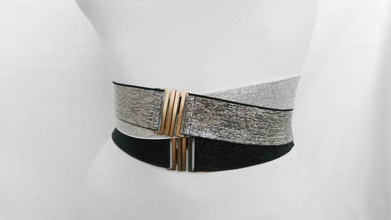 7cb5b90efd4 Silver belt elastic Waist cincher Wedding Black belt Elastic simple belt  womens stretch cinch belt n