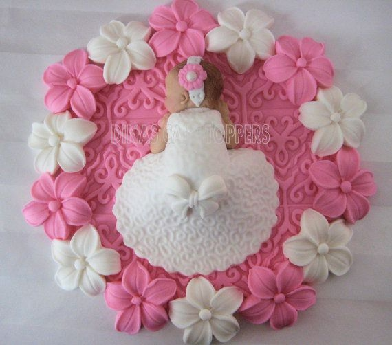 baptism cake topper girl flowers fimo pinterest b b filles filles et b b. Black Bedroom Furniture Sets. Home Design Ideas