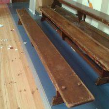 Wooden benches....every school had them!!