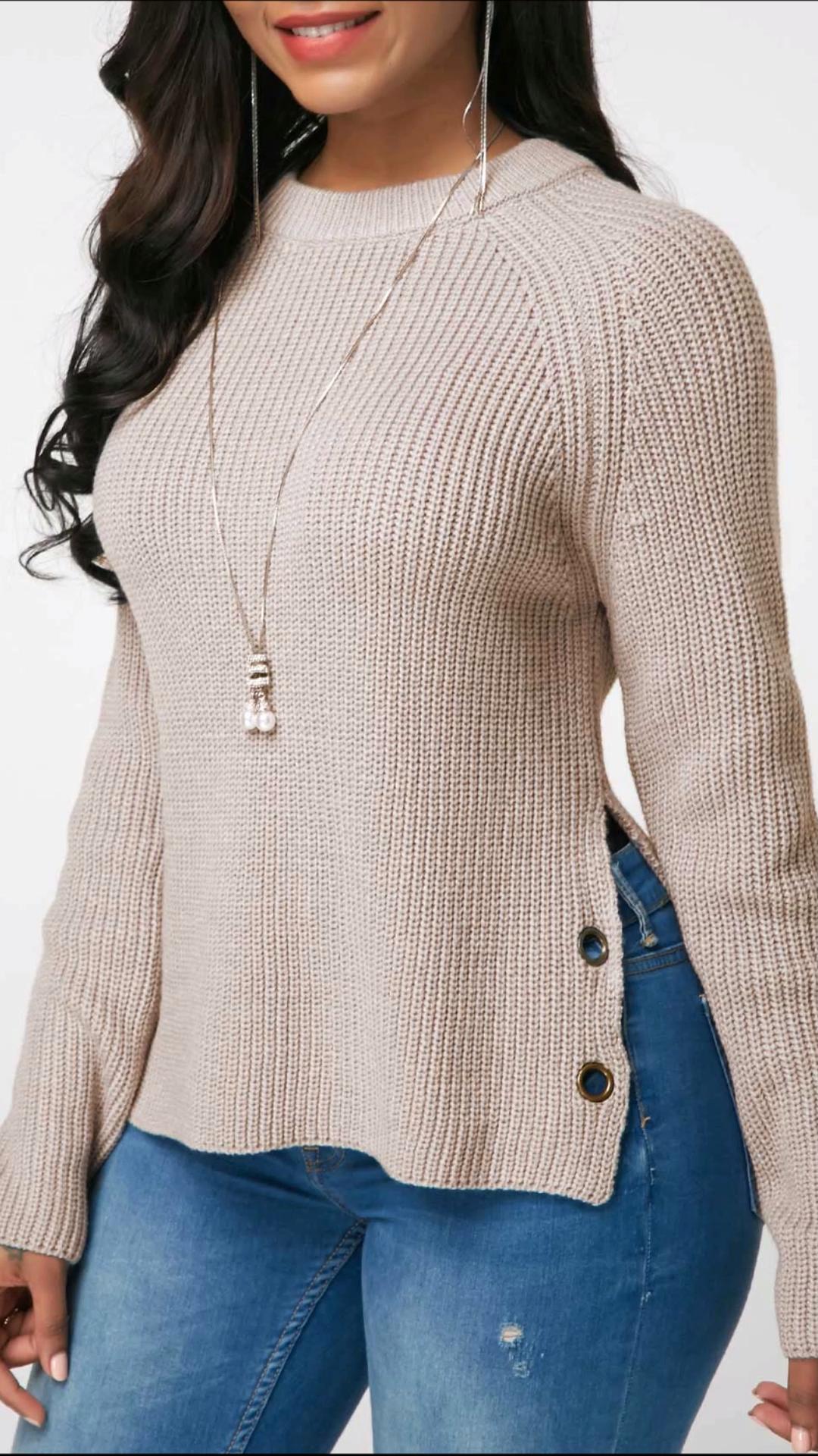 Side Slit Button Embellished Long Sleeve Sweater