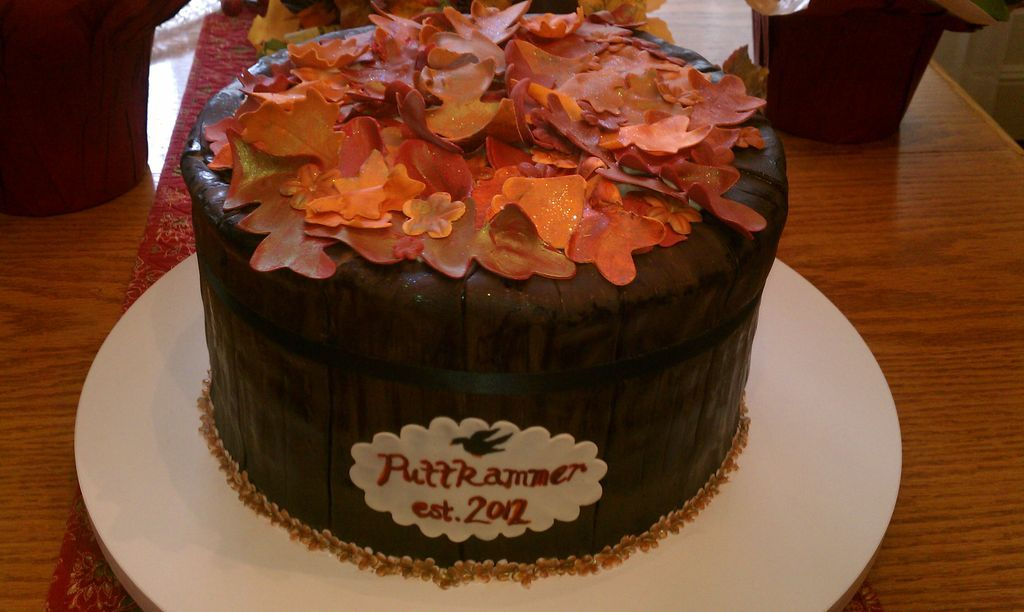 "Wine Barrel, fall wedding inspired bridal shower cake. - The label, featuring the brides new last name, is the ""vintage"" of wine."