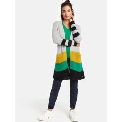 Photo of Long-cardigan with color-blocking multicolor typhoon