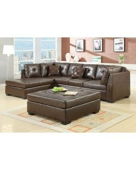 Darie Leather Sectional Sofa With Left Side Chaise Home Ideas
