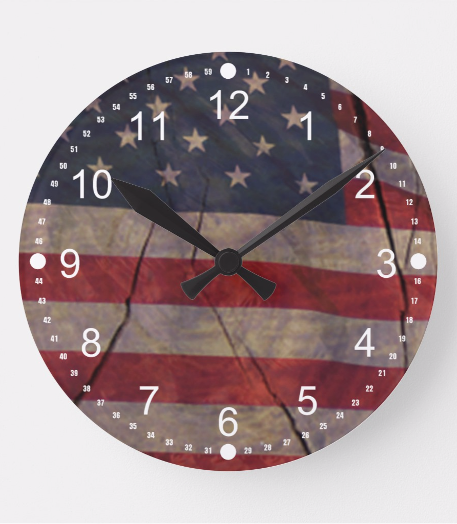 Patriotic Us Flag Segment Over Rustic Cracked Wood Round Clock Zazzle Com Man Cave Wall Art Clock Wall Clock