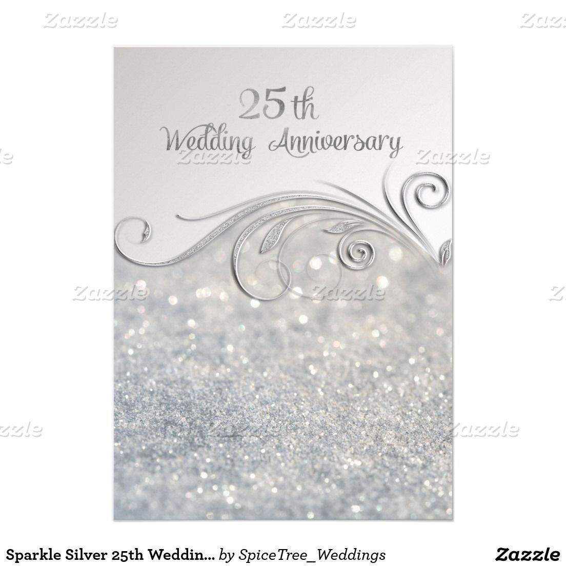 Sparkle Silver 25th Wedding Anniversary 5x7 Paper Invitation Card ...