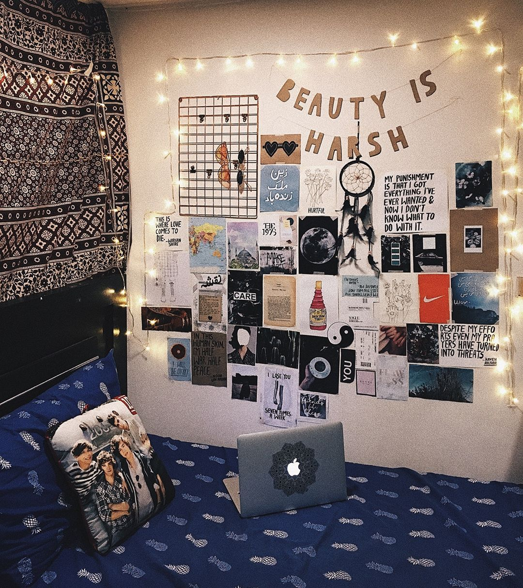 My Tumblr Room Dorm Room Inspo Wall Decor Aesthetics One Direction Tapestry Fairy Lights Teens Dorm Room Wall Decor Dorm Room Lights Room Tapestry