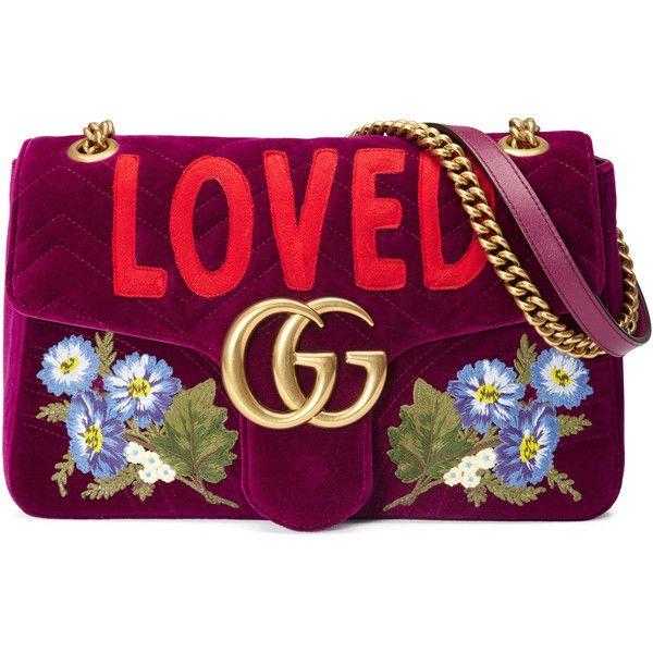 48b97df4f70 Gucci Gg Marmont Embroidered Velvet Shoulder Bag ( 2
