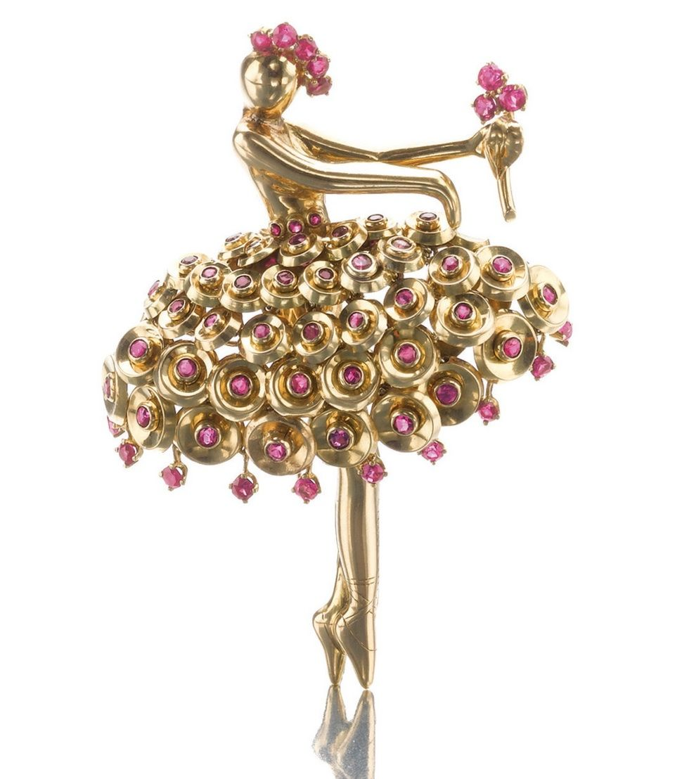 GOLD AND RUBY BALLERINA BROOCH, VAN CLEEF & ARPELS, CIRCA 1945