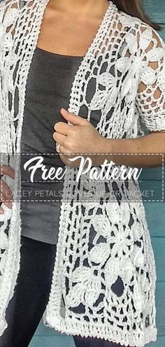 Lacey Petals Cover Up or Jacket – Free Pattern #crochetpattern #crochet #freecrochetpattern #crochetamd #crochetlove #diy #tutorialcrochet #videocrochet #pattern #muñecosdeganchillo