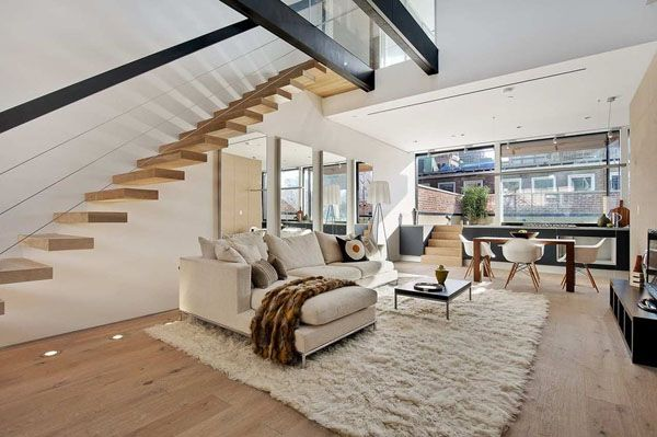 Luxurious Industrial Chic Duplex Apartment In Tribeca Staircase Design Interior Architecture Design Contemporary House