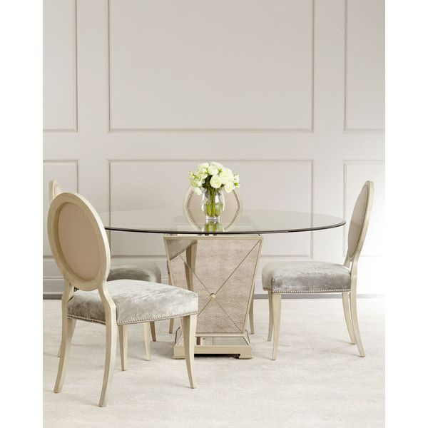 Milo Mirrored Dining Table (68.360 RUB) ❤ liked on Polyvore featuring home, furniture, tables, dining tables, mirrored glass table, handmade tables, mirrored glass furniture, handmade furniture and eglomise furniture