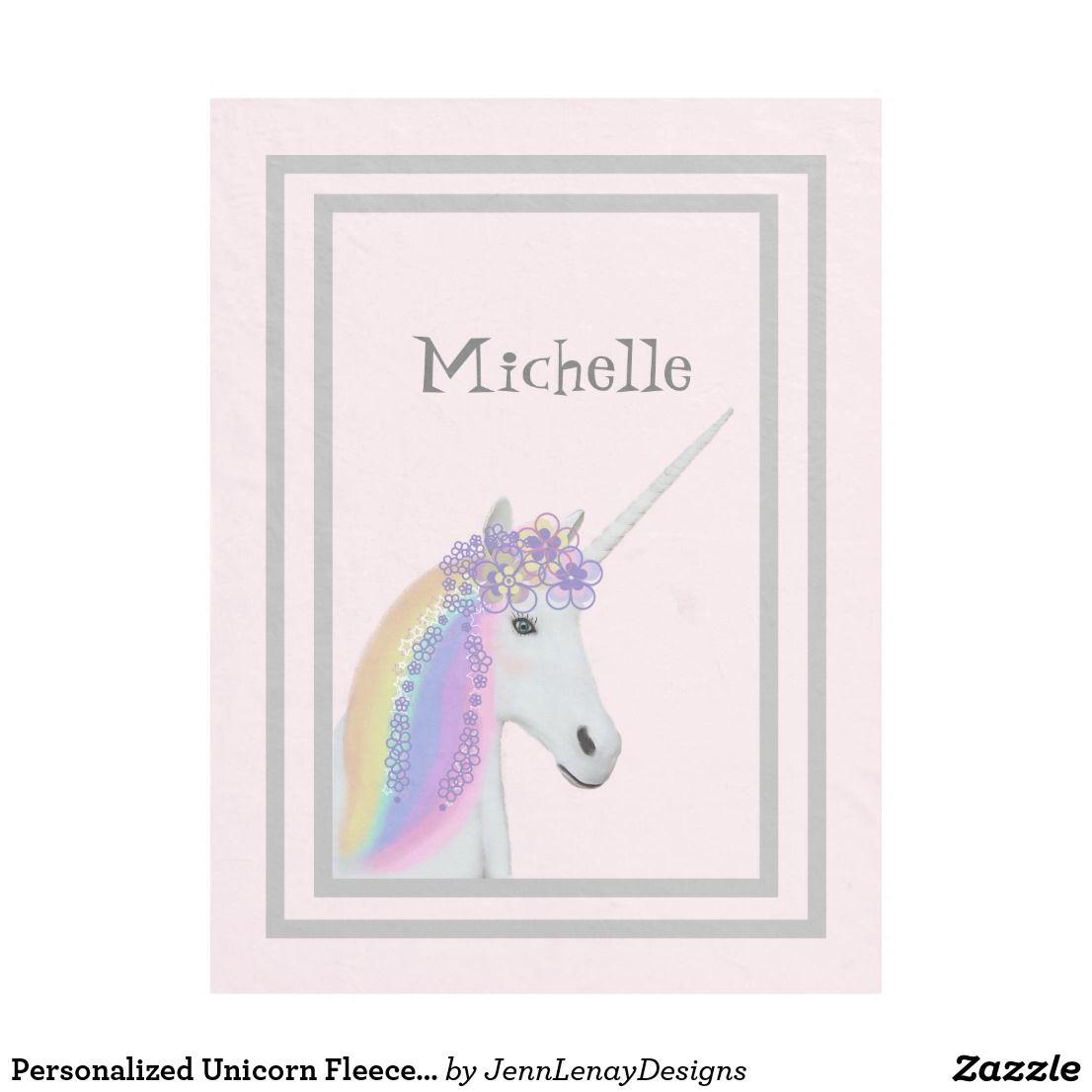 Personalized Unicorn Pastel Pink Kids Fleece Blanket #unicornblankets #unicorns #pink #pastel #customized #cuteunicorns #Design #JennLenayDesigns #Zazzle