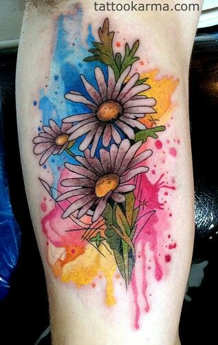 Watercolor Background Daisy Tattoo