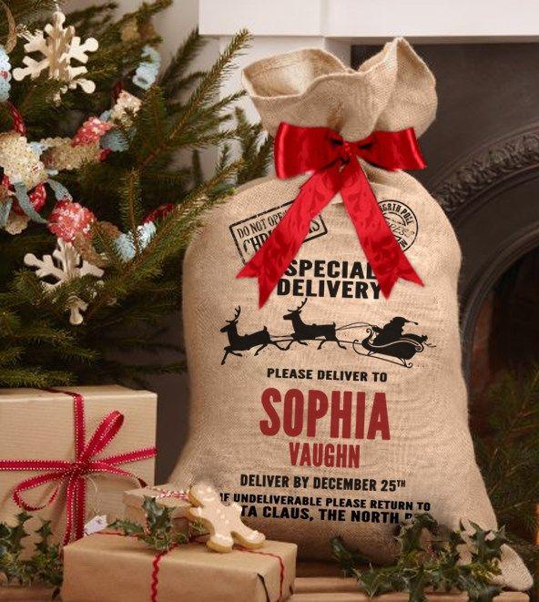Personalised Name Christmas Xmas Gifts Gift Pets Dog Cat Santa Sack Bag Stocking