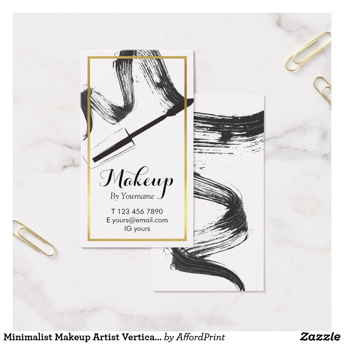Minimalist Makeup Artist Vertical Business Card Zazzle