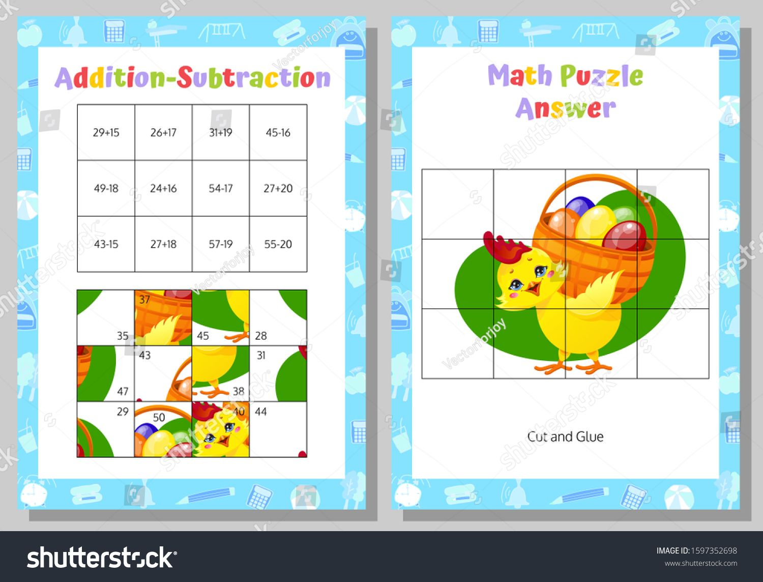 Addition Subtraction Math Puzzle Worksheet Educational
