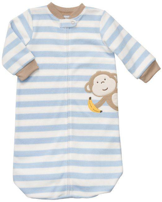 961093664 Amazon.com: Carters Sleeping Bag - Blue White Stripe Monkey-One Size:  Clothing