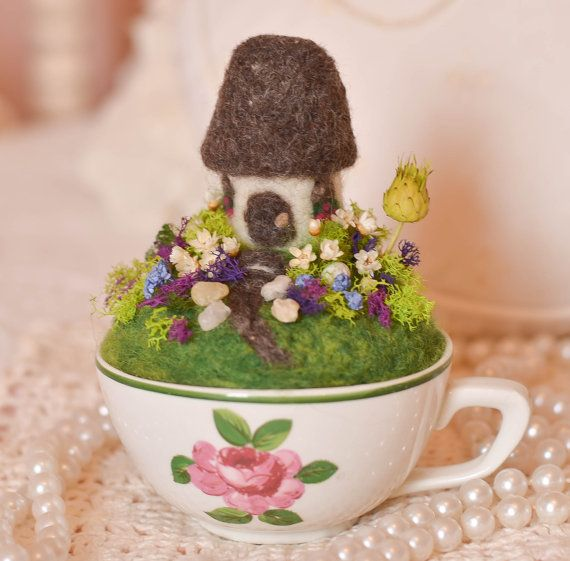 Mother S Day Teacup English Cottage Garden Needle Felted Ooak Handmade Moss Dried Star Flowers On Etsy 64 00 Summer Diy Fairy Garden Tea Cups