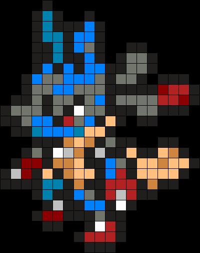 448 Mega Lucario Perler Bead Pattern Bead Sprite Pixel Art