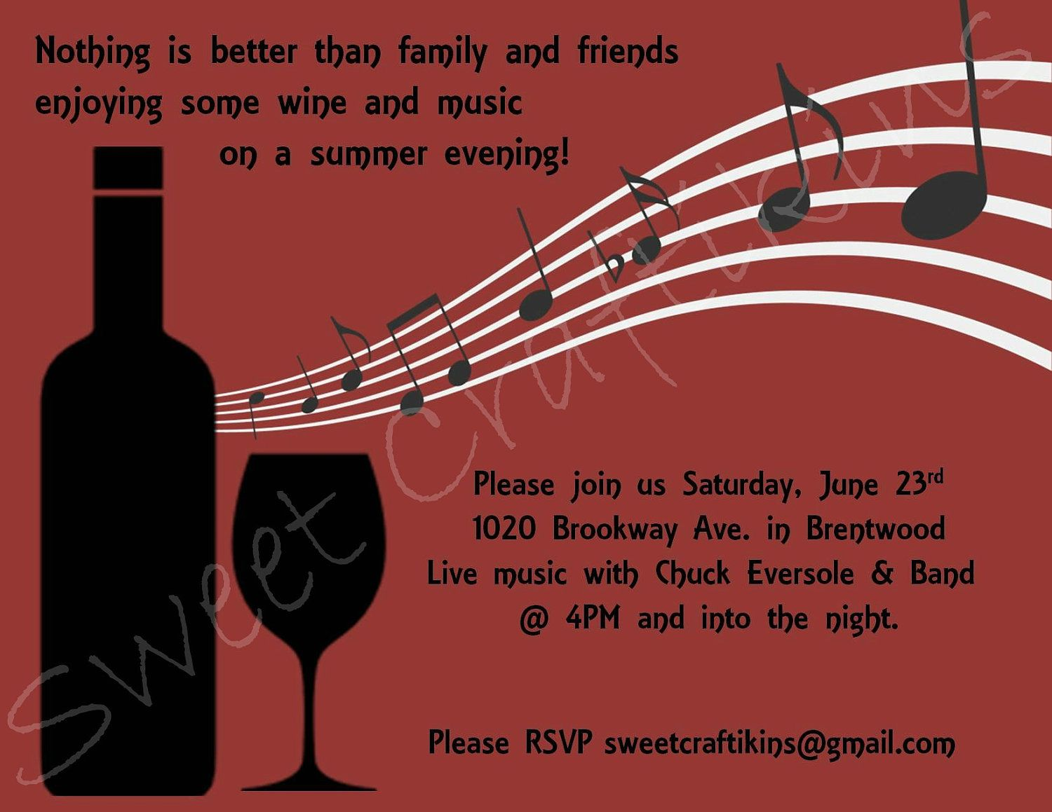 Wine And Music Party Invitation For Any Occassion Digital Printable Music Party Invitations Wine Invitations Wine And Cheese Party