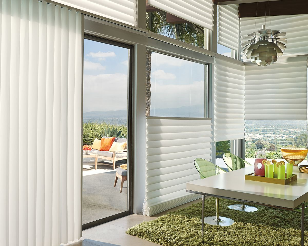 Blur The Lines Between Inside And Outside With The Versatility Of Top Down Bottom Up And Side Stacking Sliding Glass Door Modern Roman Shades Spring Interiors