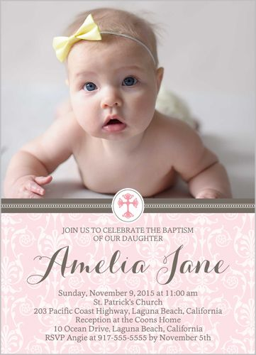 Elegant Cross Girl 5x7 Baptism Invitations