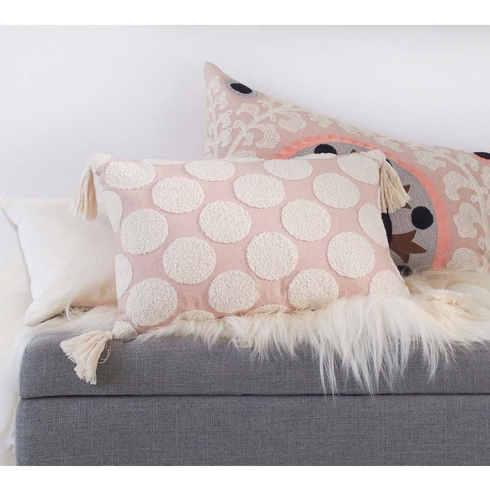 Scala Spot Embroidered Pink Cushion | Bedroom cushions ...