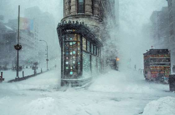 Jonas Blizzard and the Flatiron Building, by Michele Palazzo. Location: New York City, New York, Uni... - Michele Palazzo / National Geographic Travel Photographer of the Year Contest