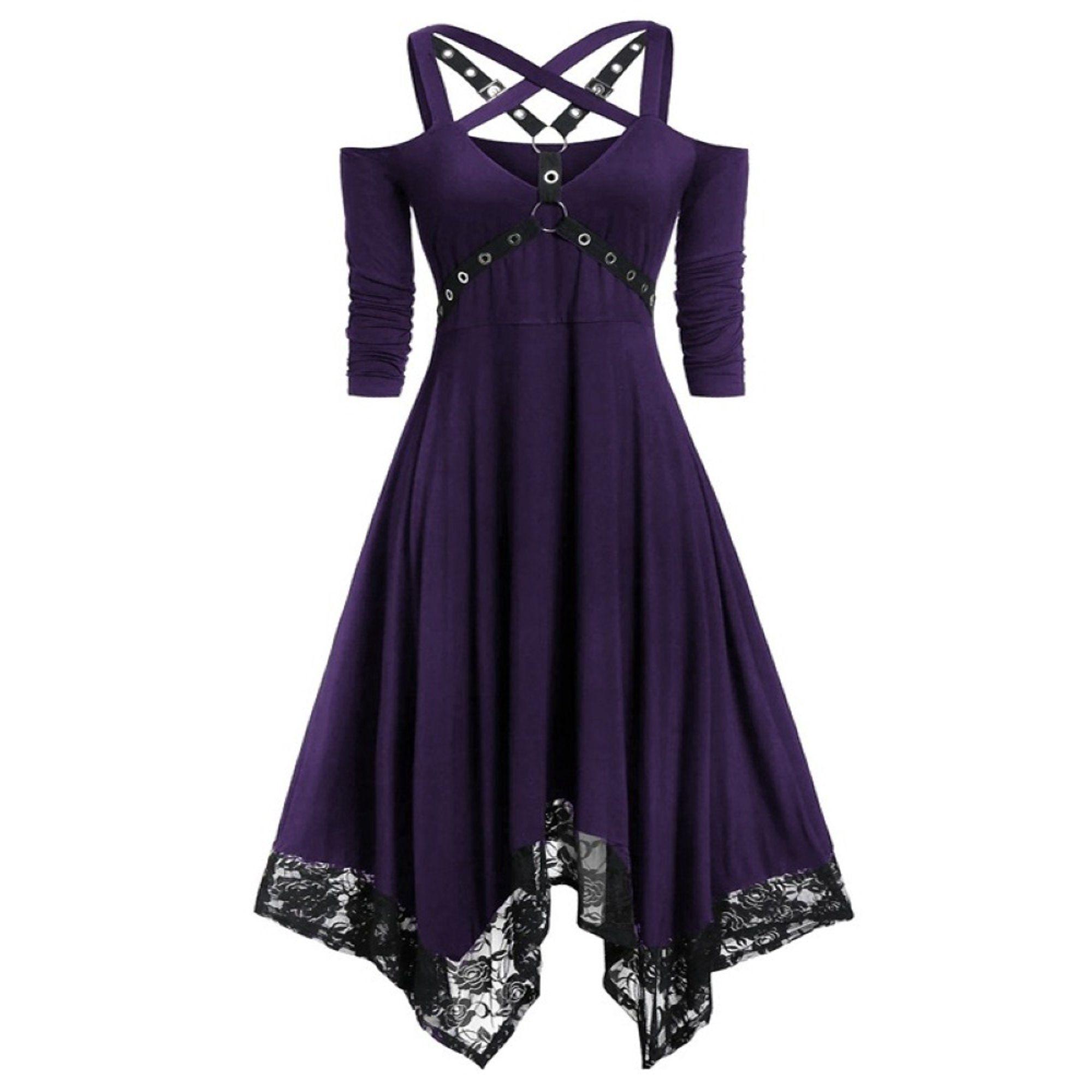 Sysea Women S Gothic Off Shoulder Dress A Line Irregular Halloween Dress Walmart Com Walmart Com Purple And Black Dress Dresses Goth Dress [ 2000 x 2000 Pixel ]