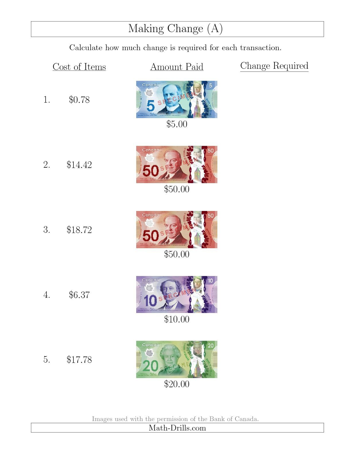 Making Change from Canadian Bills up to $50 (A) Money Worksheet   Money  worksheets [ 1584 x 1224 Pixel ]